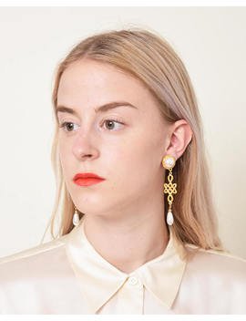 knotted-drop-earrings-with-pearl-tips-vintage-goldtone-dangle-earrings by etsy