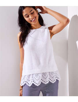Eyelet Sweater Tank by Loft