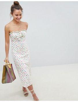 Asos Design – Trägerloses, Gepunktetes Midi Sommerkleid Mit Schleife Vorne by Asos Design