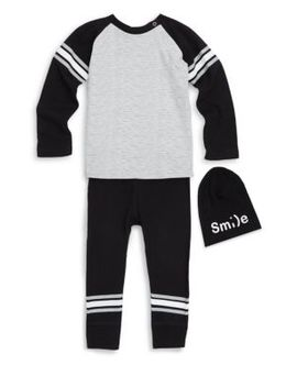 Little Boy's Three Piece Long Sleeve, Joggers & Logo Hat Set by Petit Lem