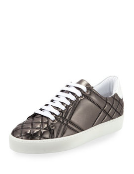 Westford Quilted Metallic Leather Low Top Sneaker, Dark Gray by Burberry