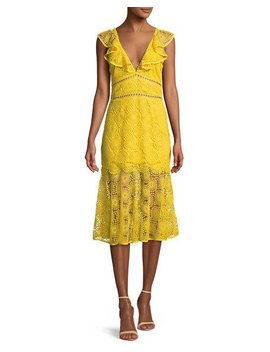 V Neck Circle Embroidery Cotton Midi Dress by Neiman Marcus