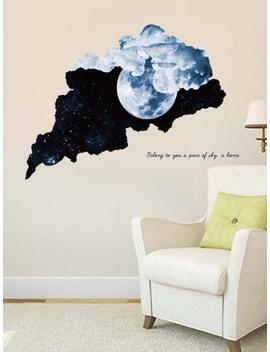 3 D Moon Night Wall Decal by Sheinside