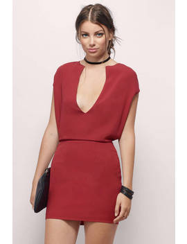 Cheryl Mini Dress&Nbsp;In Burgundy by Tobi