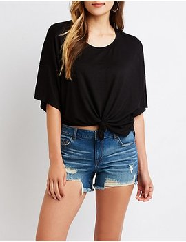 Knotted Oversize Tee by Charlotte Russe