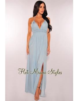 Light Denim Open Back Halter Maxi Dress by Hot Miami Style