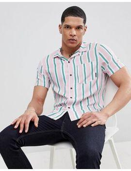 Religion Slim Revere Collar Shirt In Stripe by Religion