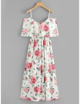 Random Florals Ruffle Layered Split Dress by Sheinside