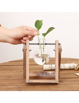 Test Tube Vase In Wooden Stand by Foresty