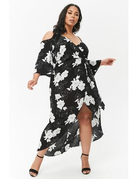 Plus Size Floral Surplice Open Shoulder Maxi Dress by F21 Contemporary