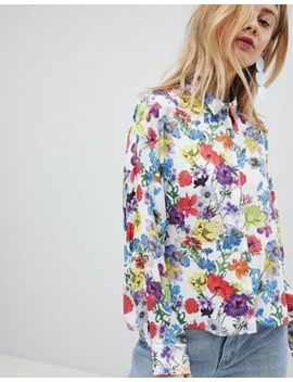 Asos Design Cropped Shirt In Spring Floral by Asos Design