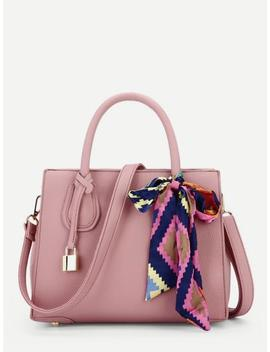 Pu Shoulder Bag With Skinny Scarf by Sheinside