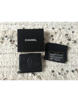 Vintage Chanel Cc Monogram Logo Black Pebbled Caviar Leather Wallet Bi Fold Case Pouch Clutch by Etsy