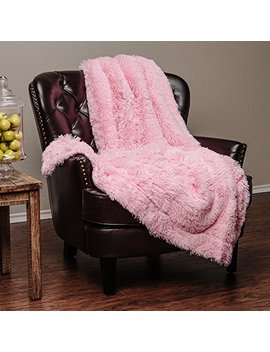 "Chanasya Super Soft Shaggy Hypoallergenic Luxury Chic Fuzzy Faux Fur Warm Elegant Cozy With Fluffy Sherpa Pink Microfiber Throw Blanket (50"" X 65"")   Solid Pink by Chanasya"