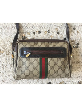Vintage Gucci Gg Supreme Crossbody Green Red Webbing Monogram Logo Coated Canvas Bag Clutch Shoulder Purse by Etsy