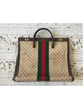 vintage-xxl-gucci-gg-logo-monogram-red-green-webbing-supreme-horse-shoe-metal-_-leather-satchel-bag-purse-travel-duffle-weekender by etsy