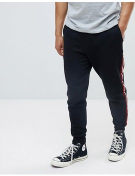 Pull&Bear Joggers With Side Stripe In Black by Pull&Bear