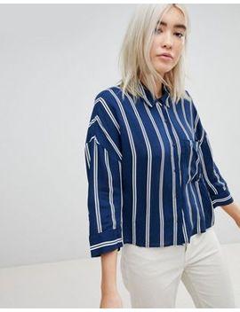 Pull&Bear Stripe 3/4 Sleeve Shirt by Pull&Bear