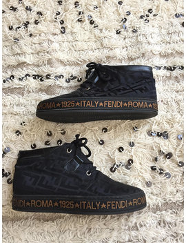 Vintage Fendi Zucca Print Logos Black 4 Hole Lace Up Nylon Combat Leather Biker Moto Boots Sneakers High Tops 37 / Us 7 Rare!!! by Etsy