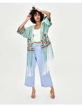 Embroidered Kimono With Fringing  New Intrf by Zara
