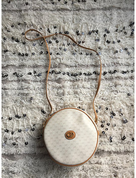 Vintage Mint Condition Gucci White Tan Micro Gg Monogram Beige & Tan Canteen Round Crossbody Purse Bag Clutch by Etsy