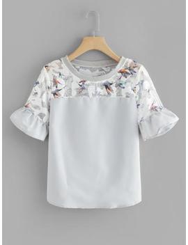 Bird Print Fluted Sleeve Top by Sheinside