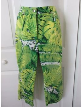 Escada Jungle Leaf Animal Print Design Cropped Capri Stretch Cotton Pants 40 Euc by Escada