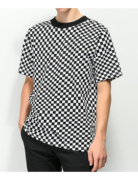 Empyre Wavy Checkered Black &Amp; White T Shirt by Empyre