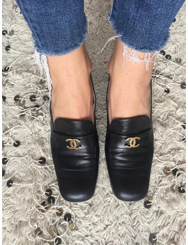 Vintage Chanel Cc Metal Logo Navy / Black Leather Loafers Heels Driving Shoes Smoking Slippers Ballet Flats Eu 39 Us 8   8.5 by Etsy