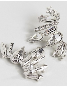 True Decadence Silver Embellished Earring (+) by True Decadence