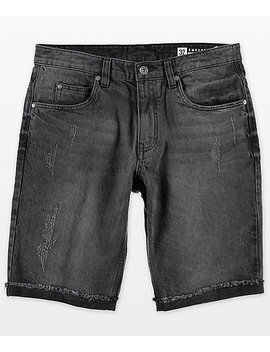 Empyre Albany Abyss Black Washed Destroyed Denim Shorts by Empyre