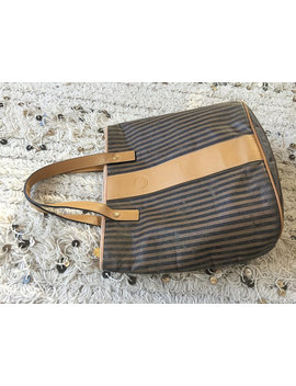 Vintage Fendi Ff Monogram Pequin Stripe Leather Logo Shoulder Bag Tote Purse Zucca by Etsy