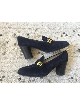 Vintage 70's Gucci Gg Monogram Navy Suede Leather Loafers Slip On Smoking Heels Pumps Shoes Eu 39.5 Us 8.5   9 by Etsy