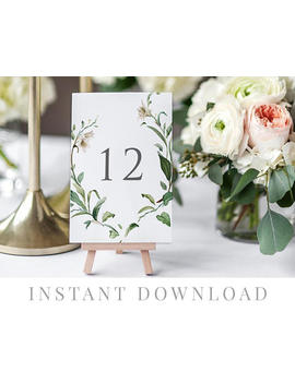 Printable Table Numbers Instant Download, Wedding Table Numbers, Diy Printable Decorations, Templett, Editable Pdf, Rustic, Adore by Etsy