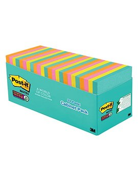 "Post It Super Sticky Notes, 3"" X 3"", Miami Collection, 24 Pads Per Pack, 70 Sheets Per Pad (654 24 Ssmia Cp) by Post It"