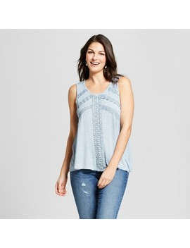 Women's Sleeveless Crochet Trim Oil Wash Tank   Knox Rose™ Light Blue by Knox Rose™