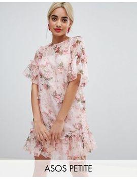 Asos Design Petite Mini Shift Dress In Pretty 3 D Floral by Asos Design