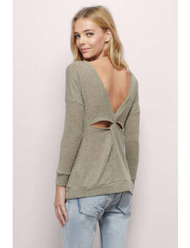 Twist Me Around Taupe Tunic Top by Tobi