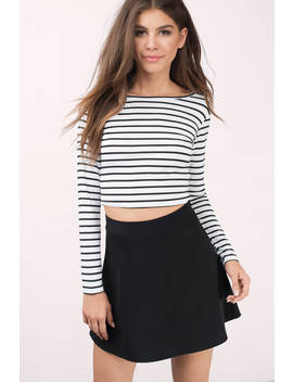 Merced Black & White Striped Crop Top by Tobi