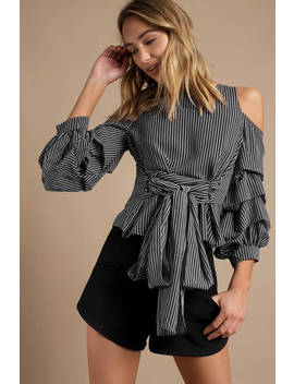 Joa Penolope Black Striped Ruffled Blouse by Tobi