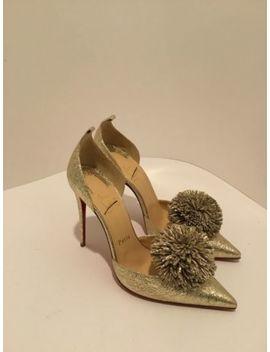 Christian Louboutin Women's Metallic Tsarou Vintage Pom Pom Heels Size38 by Christian Louboutin
