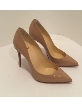 New! Christian Louboutin Pigalle Follies 100mm Nude Patent Leather Size 37 by Christian Louboutin
