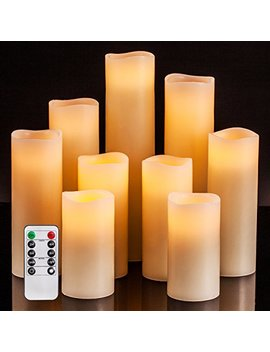 "Flameless Candles Battery Operated Candles 4"" 5"" 6"" 7"" 8"" 9"" Set Of 9 Ivory Real Wax Pillar Led Candles With 10 Key Remote And Cycling 24 Hours Timer by Good Electonic"