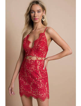 Serenity Red Lace Up Bodycon Dress by Tobi