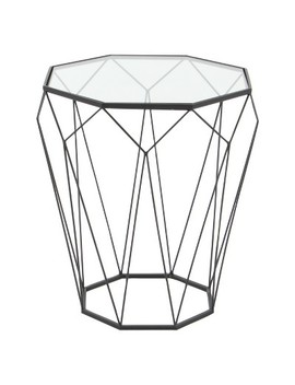 Metal And Glass Octagonal Side Table Dark Gray   Olivia & May by Olivia & May