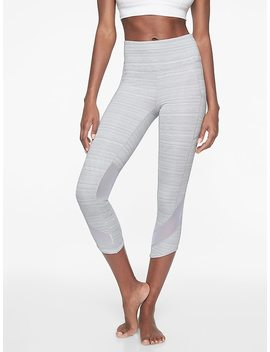 High Rise Jacquard Mesh Chat To Town Capri by Athleta