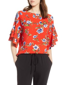 Ruffle Sleeve Print Top by Halogen®