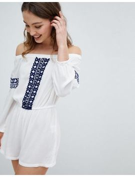 Influence Off Shoulder Embroidered Beach Playsuit by Dress