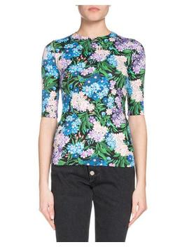 Elbow Sleeve Floral Print Jersey Stretch Top by Balenciaga