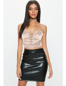 Nude Satin Lace Up Bralet by Missguided